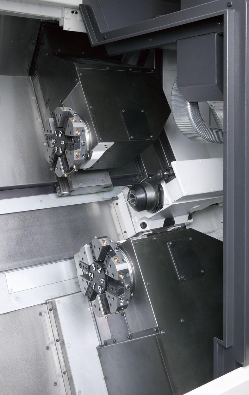Рабочая зона компатного 2-х револьверного токарного станка LU-1600EX